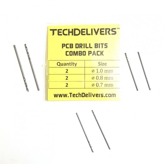 Drill Bits Combo Pack of 6 Pieces PCB Micro 0.7 - 0.8 - 1.0 mm