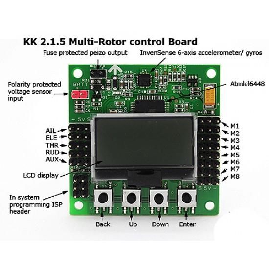 KK2.1.5 Multi-rotor LCD Flight Control Board With 6050MPU And Atmel 644PA