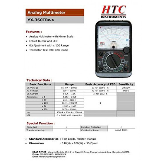 HTC Instrument YX-360TRE-B Analog Multimeter with mirror scale /diode /transistor /hfe / buzzer & LED
